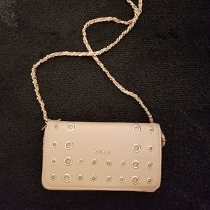 Bebe grommet clutch bag with chain strap